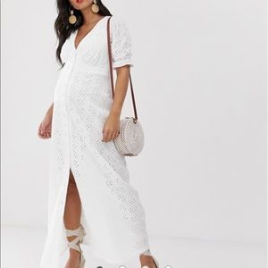 ASOS DESIGN Maternity Eyelet Maxi Tea Dress